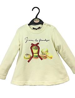 billige Hættetrøjer og sweatshirts til piger-Pige Hættetrøje og sweatshirt Ensfarvet, Bomuld Forår Efterår Langærmet Simple Sødt Hvid Kakifarvet