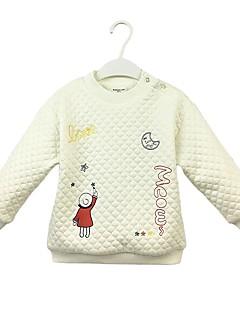 billige Hættetrøjer og sweatshirts til piger-Pige Hættetrøje og sweatshirt Ensfarvet Tegneserie, Bomuld Forår Efterår Langærmet Simple Sødt Hvid