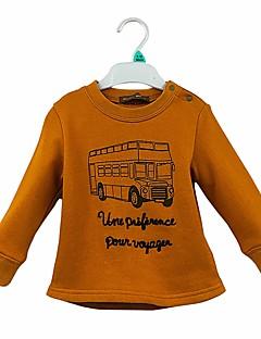 billige Hættetrøjer og sweatshirts til piger-Pige Hættetrøje og sweatshirt Ensfarvet Tegneserie, Bomuld Forår Efterår Langærmet Simple Sødt Tegneserie Kamel
