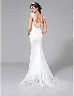 cheap High-end Wedding Dresses-Mermaid / Trumpet Straps Court Train Stretch Satin Custom Wedding Dresses with Appliques Button by LAN TING BRIDE®