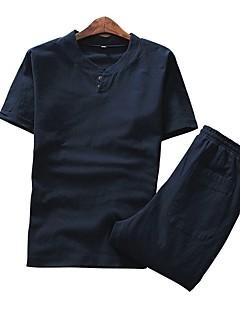 billige Herremote og klær-Lin Kort Erme,V-hals T-skjorte Ensfarget Vår Sommer Fritid Chinoiserie Daglig