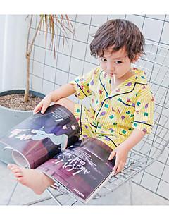 billige Tøjsæt til drenge-Unisex Tøjsæt Daglig Ferie Trykt mønster, Bomuld Sommer Halvlange ærmer Simple Aktiv Hvid Lyserød Navyblå Gul Lyseblå