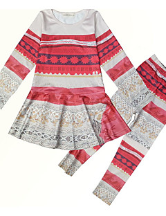 billige Tøjsæt til piger-Pige Tøjsæt Daglig Ensfarvet Blomstret, Bomuld Vinter Efterår 3/4-ærmer Simple Rød