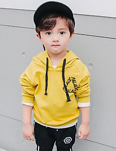 billige Hættetrøjer og sweatshirts til drenge-Drenge Hættetrøje og sweatshirt Ensfarvet, Bomuld Forår Alle årstider Langærmet Simple Sort Gul