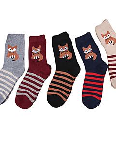 billige Sokker og strømper til damer-Dame Normal Strømper Normal Stripet Dyremønster Bomull Polyester,5 Regnbue