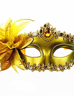 cheap Halloween Masks-Carnival Masquerade Mask Venetian Mask Black Silver Golden Metal Cosplay Accessories Masquerade