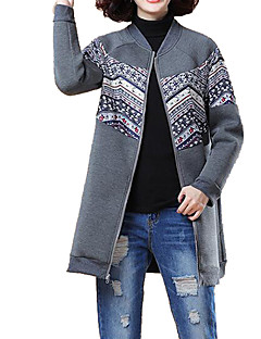 billige Plus Størrelser-Dame-Dame Plusstørrelser Lang Hættetrøjer og trøjer Trykt mønster