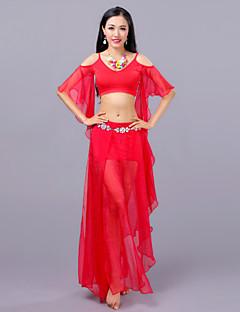 Χαμηλού Κόστους Χορός της κοιλιάς-Χορός της κοιλιάς Σύνολα Γυναικεία Εκπαίδευση Επίδοση Βαμβάκι Μοντάλ Με χώρισμα Μισό μανίκι Χαμηλή Μέση Φούστες Κορυφή Φουλάρι Γοφών για