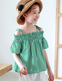 cheap Girls' Tops-Girls' Houndstooth Tee, Nylon Summer Short Sleeves Cute Green
