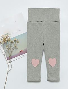 billige Bukser og leggings til piger-Pige Bukser Ensfarvet, Bomuld Forår Normal Grøn Hvid Grå Gul