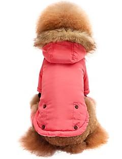 billiga Hundkläder-Katt Hund T-shirt Tröja Huvtröjor Hundkläder Enfärgad Rosa Nylon fiber Bomullstyg Kostym För husdjur Herr Dam Stilig Håller värmen