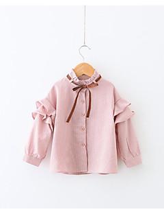 billige Hættetrøjer og sweatshirts til piger-Pige Skjorte Ensfarvet, Bomuld Polyester Forår Langærmet Simple Lyserød Lyseblå
