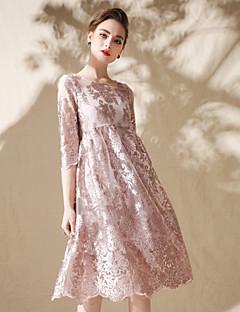 お買い得  レディースドレス-女性用 ストリートファッション ボヘミアン ルーズ スウィング ドレス - フラワー, ソリッド 膝上