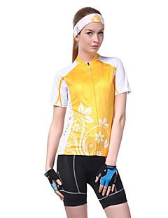 billige Sykkeljerseys-Nuckily Dame Kortermet Sykkeljersey - Oransje Sykkel Jersey, Ultraviolet Motstandsdyktig, Pustende, Svettereduserende, Refleksbånd