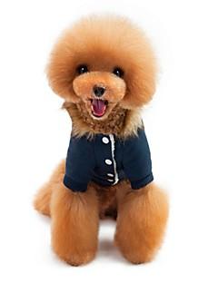 billiga Hundkläder-Katt Hund Kappor Huvtröjor Jumpsuits Hundkläder Brittisk Mörkblå Röd Vadderat tyg Polär Ull Polyster Kostym För husdjur Ledigt/vardag