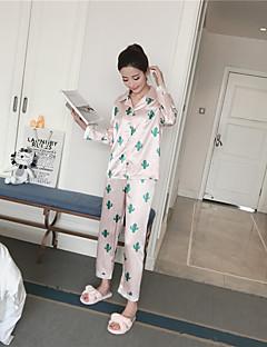 billige Moteundertøy-Dame Dress Pyjamas Medium Rayon Hvit Rosa
