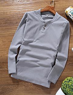 billige Herremote og klær-Lin Langt Erme,V-hals T-skjorte Ensfarget Vår Sommer Fritid Chinoiserie Daglig