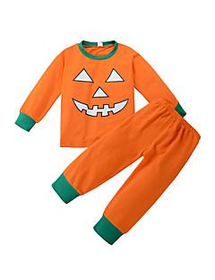 billige Tøjsæt til drenge-Unisex Tøjsæt Ferie Ensfarvet Trykt mønster, Bomuld Vinter Alle årstider Langærmet Afslappet Aktiv Orange