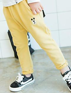 billige Bukser og leggings til piger-Pige Bukser Ensfarvet, Bomuld Bambus Fiber Spandex Forår Aktiv Lyserød Grå Gul