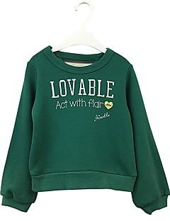 billige Hættetrøjer og sweatshirts til piger-Pige Hættetrøje og sweatshirt Ensfarvet Tegneserie, Bomuld Forår Efterår Langærmet Simple Sødt Grøn