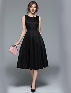baratos Vestidos de Mulher-Mulheres Trabalho Moda de Rua Evasê Vestido Sólido Decote Quadrado Médio