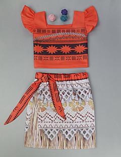 billige Tøjsæt til piger-Pige Tøjsæt Daglig Sport Ensfarvet, Uld Bomuld Bambus Fiber Forår Langærmet Simple Vintage Orange