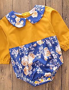 billige Babytøj-Baby Pige En del Daglig I-byen-tøj Blomstret Patchwork, Bomuld Polyester Forår Sommer Langærmet Simple Afslappet Gul