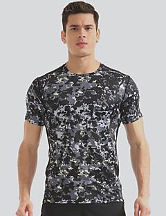 billiga Träning-, jogging- och yogakläder-Herr Rund hals T-shirt för jogging - Kamoflage sporter T-shirt Kortärmad Sportkläder Torkar snabbt, Mateial som andas