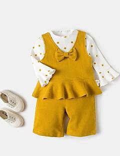 tanie Odzież dla dziewczynek-Komplet odzieży Bawełna Dla obu płci Jendolity kolor Wiosna Długi rękaw Clover Yellow