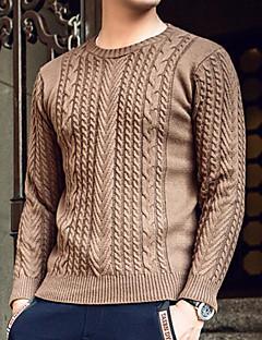 tanie Męskie swetry i swetry rozpinane-Męskie Okrągły dekolt Pulower Solid Color