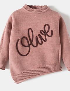 billige Sweaters og cardigans til piger-Pige Trøje og cardigan Ensfarvet Ord, Bomuld Akryl Forår Langærmet Lyserød Lilla