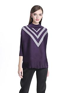 billige Kvinde Toppe-Rullekrave Dame - Farveblok Flettet Boheme T-shirt