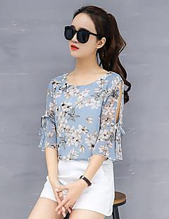 billige Overdele til damer-Dame bluse ærmer polyester løs bluse - blomstret, grundlæggende