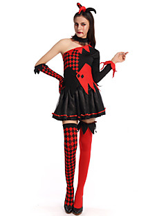 billige Halloweenkostymer-Trollmann/heks Cosplay Kostumer Dame Halloween Festival / høytid Halloween-kostymer Svart Pledd / Tern