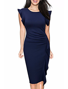 cheap Biker Chic-Women's Daily Vintage Sheath Midi Dress, Solid Round Neck Sleeveless Spring