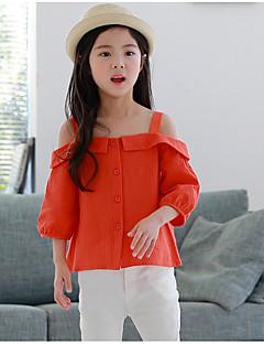 お買い得  女児 トップス-子供 女の子 シンプル ソリッド 七分袖 シャツ