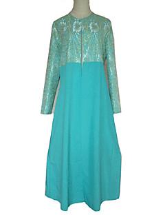 tanie Etniczne & Cultural Kostiumy-Moda Jalabiya Sukienka Kaftan Abaya Arabian Dress Damskie Festiwal/Święto Kostiumy na Halloween Niebieski Jendolity kolor Kwiaty