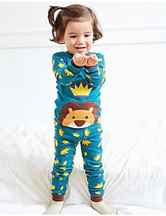 billige Undertøj og sokker til piger-Pige Nattøj Ensfarvet, Bomuld Bambus Fiber Spandex Langærmet Simple Blå Navyblå Lyseblå