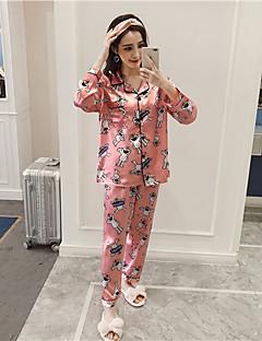 billige Moteundertøy-Dame Firkantet hals Dress Pyjamas - Tegneseriefigurer, Trykt mønster