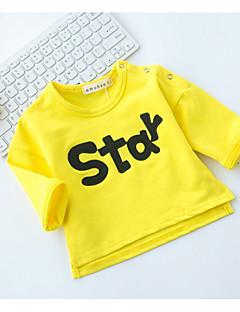 billige Babytøj-Baby Pige T-shirt Ord, Bomuld Langærmet Normal Grå Gul
