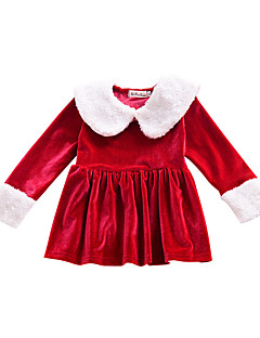 billige Babykjoler-Baby Pigens Kjole Daglig Ensfarvet, Bomuld Forår Efterår Langærmet Simple Rød