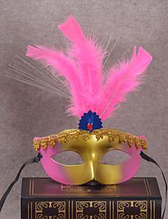 billige Halloweenkostymer-Klassisk Masquerade Mask Gul Rose Rød Blå Rosa Plastikker Cosplay-tilbehør Maskerade