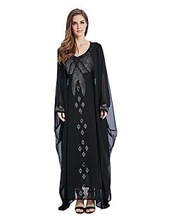 tanie Etniczne & Cultural Kostiumy-Moda Jalabiya Sukienka Kaftan Abaya Arabian Dress Damskie Festiwal/Święto Kostiumy na Halloween Black Jendolity kolor