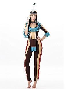 billige Voksenkostymer-Primitiv Cosplay Kostumer Maskerade Kvinnelig Halloween Karneval Nytt År Oktoberfest Festival / høytid Halloween-kostymer Brun Trykt