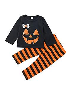 billige Tøjsæt til piger-Pige Tøjsæt Daglig Ferie Stribet Trykt mønster, Bomuld Forår Alle årstider Langærmet Sødt Orange