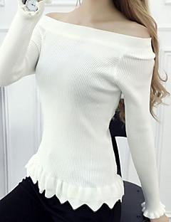 baratos Suéteres de Mulher-Mulheres Festa Manga Longa Pulôver - Sólido