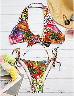 billige Bikinier og damemote 2017-Dame Blomster / Bohem Bikini Trykt mønster