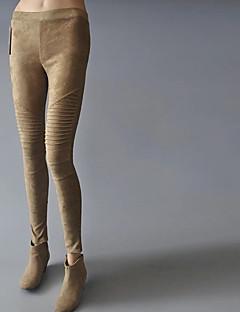 baratos Leggings para Mulheres-Mulheres Flanelada Legging-Sólido,Clássico