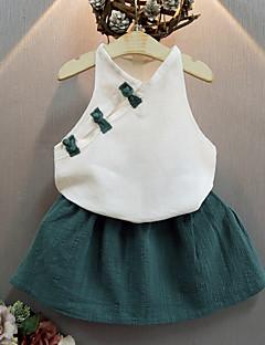 billige Tøjsæt til piger-Pige Tøjsæt Fødselsdag I-byen-tøj Ensfarvet, Bomuld Sommer Uden ærmer Aktiv Grøn