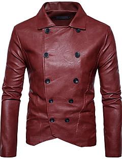 お買い得  メンズジャケット&コート-男性用 ジャケット シャツカラー ソリッド, コットン パッチワーク
